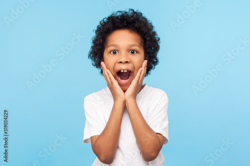 Photo Oh my god, wow! Portrait of funny amazed preschool boy looking at camera with shocked astonished expression and keeping hands on face, screaming in surprise