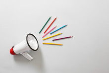Megaphone With Colorful Pencil...