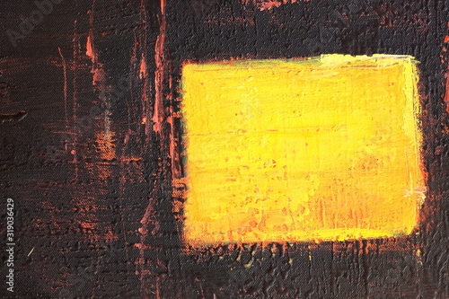 Obraz na plátně Quadro astratto: campo nero con quadrato giallo