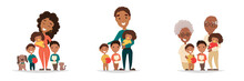African American Family Groups On Isolated White Background. Mother With Three Kids, Father With Three Children And Grandparents With Grandkids. Vector Illustration For Poster, Greeting Card, Website