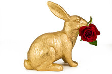 Gold Easter Rabbit  With Red R...