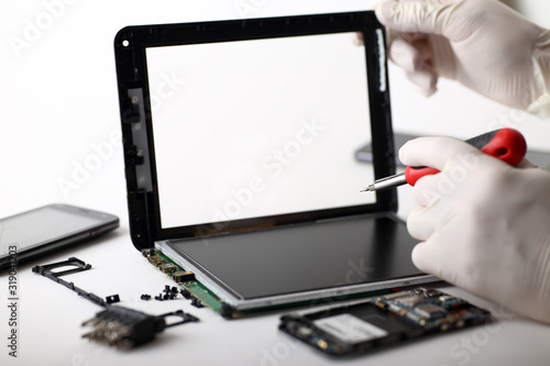 Tablet danneggiato in ripazione Canvas Print