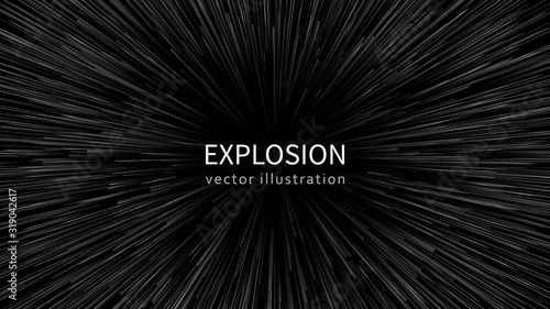 Photo Abstract exploding effect. Black and white vector illustration