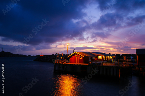 Small fishing village of A (Moskenes) at the end of the road of the Lofoten isla Canvas Print