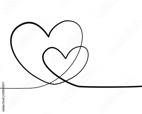 Fototapety, obrazy: One line vector of two hearts