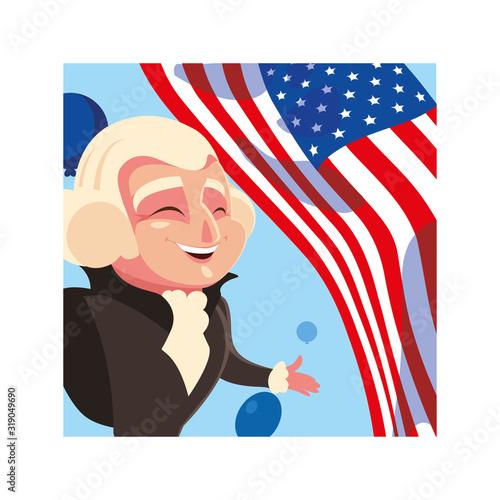 Obraz na plátně president george washington with flag usa, president day card