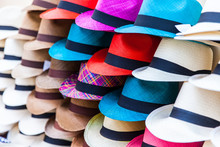 Street Selling Of Hats At Cartagena De Indias In Colombia
