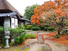 Traditional Japanese Garden Of Ohara-tei Samurai Residence (rebuilt In 1800) Of In Autumn Colors. Many Samurai Houses Survived In Kitsuki Town (Japan) Since Edo Period