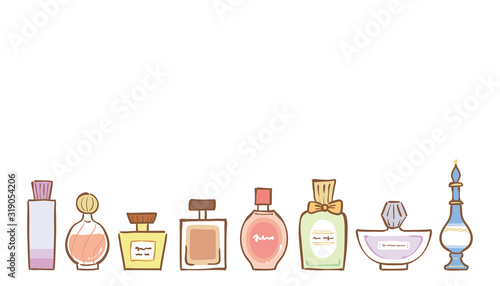 Fototapeta Illustration of perfume bottles of various shapes obraz