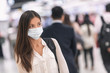 canvas print picture - Virus mask Asian woman travel wearing face protection in prevention for coronavirus in China. Lady walking in public space bus station or airport.