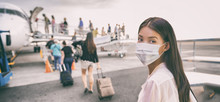 COVID Travel Airport Asian Woman Tourist Boarding Plane Leaving On Vacation Wearing Face Mask. Coronavirus Corona Virus Banner Panoramic. Social Distance, Travel Ban Restriction, Tourism.