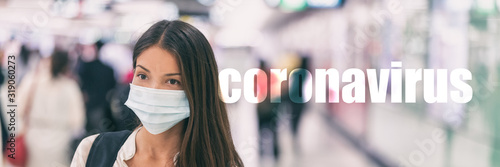 Coronavirus Azjatycka kobieta jest ubranym zapobieganie maski przeciw wirusowi grypy z tekstem na sztandarze.