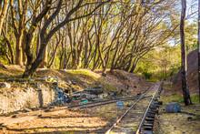 Abandoned Railway Train In Amusement Park