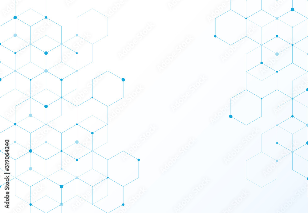 Fototapeta Abstract hexagonal molecular structures in technology background and science style. Medical design. Vector illustration