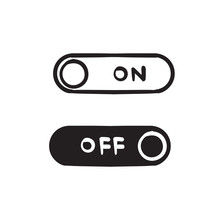 Hand Drawn On Off Icon. Switch Button. Vector Illustration. Doodle Style