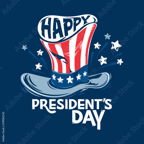 Happy President's day design with uncle Sam hat vector illustration Fotomurales
