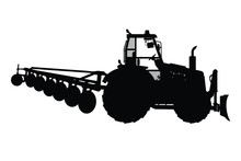 Tractor With Equipment Silhoue...
