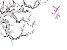 水墨画タッチ 桜1