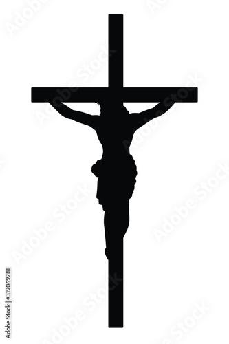 Jesus on cross silhouette vector Fototapeta