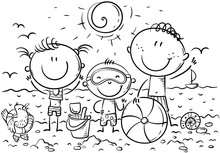 Happy Kids At The Seaside, Outline, Vector Illustration