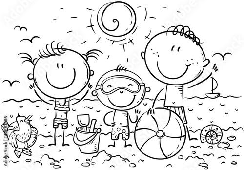 Fototapeta Happy kids at the seaside, outline, vector illustration obraz