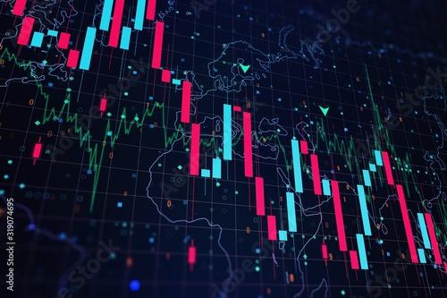 Fotomural Falling financial chart