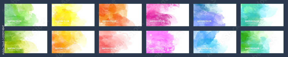 Fototapeta Big set of beauty vector colorful watercolor backgrounds for business card, brochure or flyer
