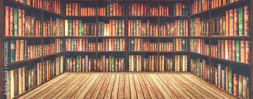 Fotografie, Obraz blurred bookshelf Many old books in a book shop or library