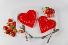 Sweet Gelatin Hearts Dessert I...