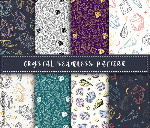 Crystal seamless pattern - colorful rainbow crystals or gems on white background Canvas Print