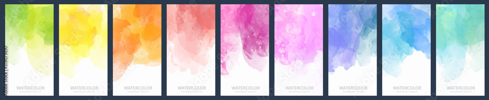 Fototapeta Set of light colorful vector watercolor vertical backgrounds for poster, banner or flyer