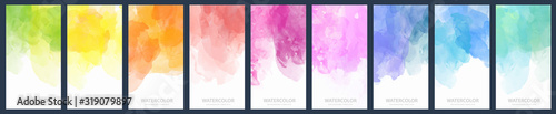 Set of light colorful vector watercolor vertical backgrounds for poster, banner or flyer - 319079897