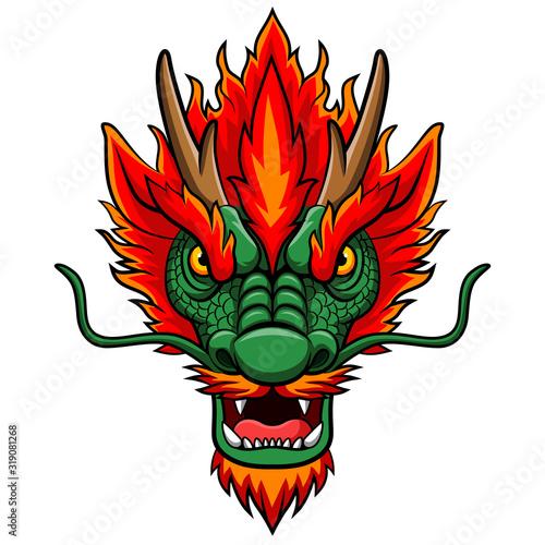 Cartoon chinese dragon head mascot #319081268