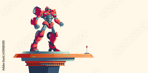 Photo Red robot transformer standing on spaceship top isolated background, cartoon vector illustration