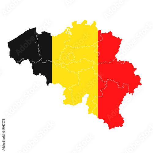 Fotomural ベルギー  国旗 地図 アイコン