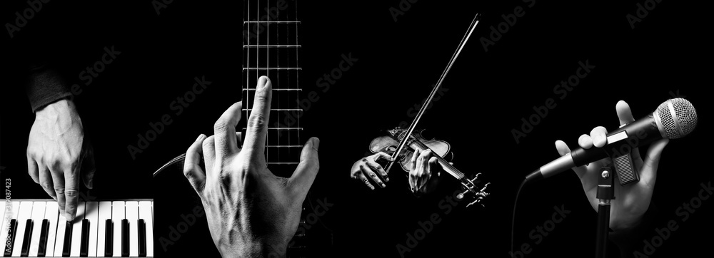 Fototapeta four parts of musician hands playing musical instrument. music background