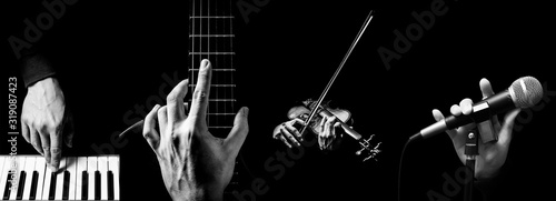 Canvas Print four parts of musician hands playing musical instrument