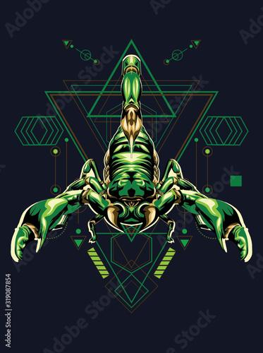 Photo scorpion king zodiac illustrattion in sacred geometry