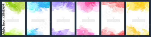 Obraz Set of light colorful vector watercolor A4 backgrounds for poster, brochure or flyer - fototapety do salonu