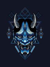 Blue Oni Mask In Sacred Geometry