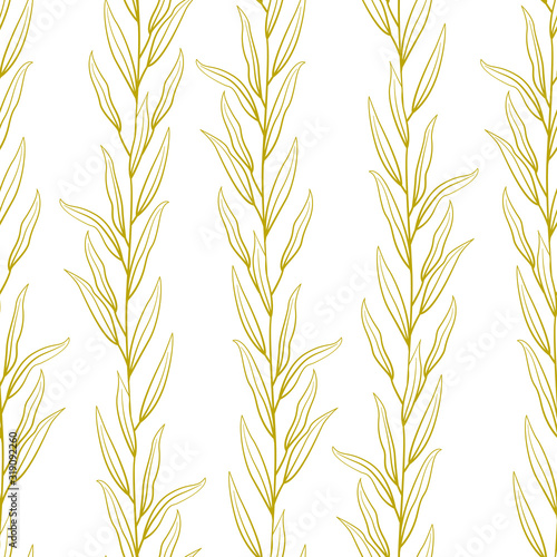 Obraz na plátne Vector seamless abstract pattern with gold vertical branches and leaves on white background; floral design for fabric, wallpaper, textile, package, web design