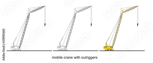 Tower Crane Components, modern mobile crane with outriggers фототапет