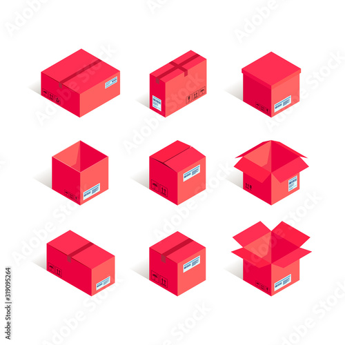Obraz Isometric red delivery box set isolated on white background. 3d Online shipping and transportation vector illustration. Can use for web, mobile apps, infographics, warehouse storage design - fototapety do salonu