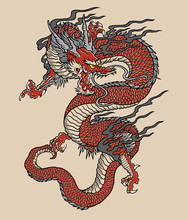 Japanese Red Dragon Tattoo Illustration. Full Color Vector Art.