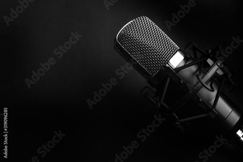 Condenser black studio microphone on a black background Canvas Print