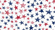 Independence Day USA. Presidents Day. Hand Drawn Illustration. Stars Grunge.