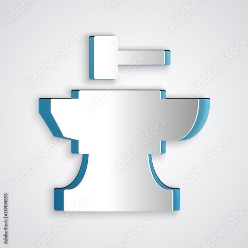 Photo Paper cut Anvil for blacksmithing and hammer icon isolated on grey background