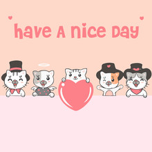 Cute Kawaii Cats And Dogs With Say Have A Nice Day Background Wallpaper Cover Banner