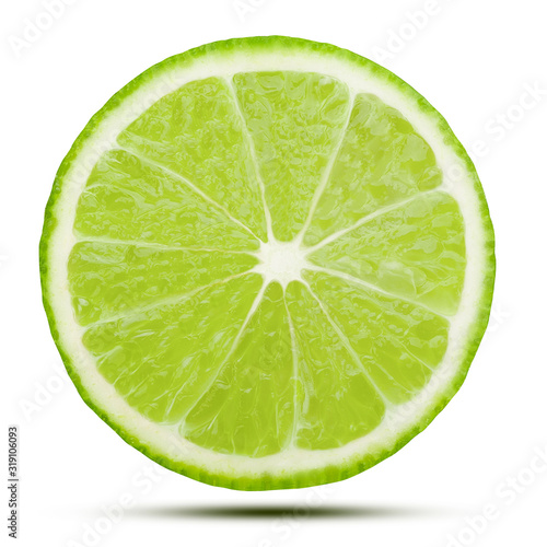 Fototapeta Limonka  swiezy-plasterek-limonki-na-bialym-tle-bialy-ze-sciezka-przycinajaca