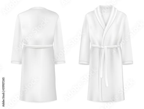 Fotomural Realistic white bathrobe mockup, vector isolated illustration